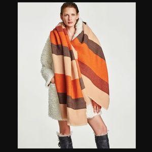 Zara Blanket Oversize Colorblock Stripe Scarf Wrap